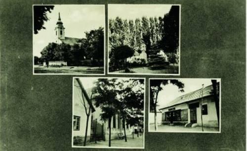 """Képeslap az '50-es évekbõl. A képeken: a templom, Hõsök tere, a községháza és a """"Hangya""""-"""