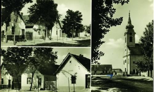 Képeslap az 1920-as évekbõl, a képen a templom és a jellegzetes újhartyáni utcaképek láthatók.